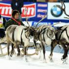 Norway's Tarjei Boe (left) debuted NASCAR's next Car of Tomorrow during a lap of honor after winning the men's individual 20k in fabulous Khanty-Mansiysk, Siberia, on March 8.