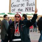 """Apparently, the NHL Commissioner's response to the Zdeno Chara-Max Pacioretty headshot incident -- """"Read my lips, no new taxes"""" -- moved this fellow to draw an astute historical comparison during the recent protest at the Bell Centre in fabulous Montreal."""
