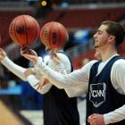 Using helium-filled balls while their opponents shoot conventional rocks has surely helped elevate Benjamin Stewart, Kyle Bailey and the rest of Connecticut's fine cagers to the Elite Eight at the Men's Basketball Tournament.
