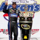 The five-time defending series champ stole his first win of the season by a whisker. Johnson edged Clint Bowyer by .002 seconds to match the closest finish in NASCAR history. Dale Earnhardt Jr. pushed Johnson from fifth to first over the furious final lap.