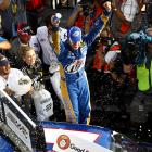 Four days after breaking his ankle in a testing session, Brad Keselowski held off Kyle Busch to win at Pocono. His second victory of the season, and the third of his career, put Keselowski in line for a Chase wild-card berth.