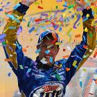 Brad Keselowski stretched his tank perfectly to win at the Kansas Speedway -- and extend Dale Earnhardt Jr.'s winless streak to 106 races. Keselowski led the final nine laps for his second Sprint Cup victory in 66 races, and the first for Penske Racing since Kurt Busch last year in the Coca-Cola 600. Keselowski also had a surprise 2009 victory at Talladega in only his fifth career Cup start. Junior finished second.
