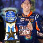 Busch denied teammate Denny Hamlin's bid for a weekend sweep at Richmond, barely. Busch went the final 107 laps on one tank of fuel (running out in celebration). Hamlin finished second. It's Busch's third straight spring victory in Richmond, the second of the season and the 21st of his Sprint Cup career.
