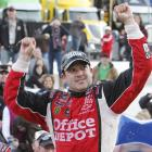 """Tony Stewart passed Jimmie Johnson on a restart with three laps to go to win at Martinsville for his first victory of the season. The first-place finish puts him just eight points behind Carl Edwards in the Chase for the Championship and called him out after Sunday's race, adding, """"He better be worried. That's all I've got to say."""""""