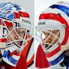 "Auld may be the backup to Carey Price, but his masks are second to no one's (at least on the Canadiens). One side honors Jacques Plante, seen famously putting on a mask of his own design after suffering a bloody, broken nose during a game against the Rangers (Nov. 1, 1959), and Patrick Roy, who appears making a save within the Canadiens' iconic logo. The other side is a replica of Ken Dryden's famous ""target mask"" with several illustrations of the Hall of Fame netminder embedded along the outer target."