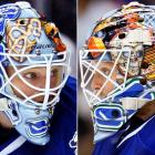 "It's too bad that Schneider sat on the bench behind Roberto Luongo most of the season, because his mask is worthy of a much bigger spotlight. It honors those worn during the past four decades by different Canucks' goalies -- (left to right) Curt Ridley, Dunc Wilson, John Garrett, Gary ""Bones"" Bromley and Kirk McLean -- in honor of the team's 40th anniversary."