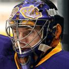 Jonathan is quick to give credit to the Kings' equipment manager for coming up with the idea of wearing a Rogie Vachon-inspired helmet for the team's retro jersey games during its 40th anniversary season. The ears and hair are supposed to be Vachon's, as is the mask.
