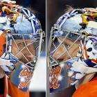 "For games when the Oilers dress in their throwback jerseys, ""The 'Bulin Wall"" dons a mask similar to his usual headgear, with one exception. The eagles are clenching two different masks of Edmonton's former Hall of Fame goalie Grant Fuhr in their talons instead of a scepter and the Holy Hand Grenade of Antioch from Monty Python and the Holy Grail as seen here . Fuhr was integral in winning Edmonton's first four Stanley Cups in the 1980s."
