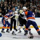 "Nine days after losing goalie Rick DiPietro to a facial fracture in a fight with Pens goaltender Brent Johnson, the Isles exacted revenge with a 9-3 win in which both teams racked up 346 penalty minutes, 10 ejections, 15 fighting majors and 20 misconducts. The incident moved Pens owner Mario Lemieux to decry the game as ""a travesty...unacceptable and embarrassing to the sport."" The Isles were fined $100,000 for failing to control their players. Forwards Michael Haley (four games) and Trevor Gillies (nine) were suspended. Gillies boarded, concussed, punched and taunted Pittsburgh's Eric Tangradi as the injured Penguin lay on the ice."