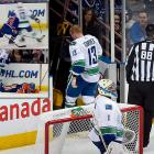 "The Vancouver Canucks forward drew a five-minute major for elbowing and a game misconduct for targeting the head of Edmonton's Jordan Eberle. Torres protested his innocence after the game, saying, ""The way the league has changed in the last five or six years, if I don't finish my hit, I'm going to be out of a job. At the end of the day, I'm not trying to hurt anybody out there. It's the last thing I want to do."" Upon further review, NHL Hockey Operations decided to sit Torres for four games, which meant he would miss Vancouver's last two games of the regular season and its first two of the playoffs."