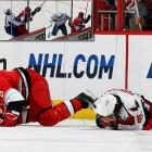 Carolina blueliner Gleason's shoulder broke the visor and nose of the Capitals forward, leaving him in a bloody heap. Gleason received a five-minute penalty for charging and a game misconduct, but avoided suspension for a hit that many, including his team, thought was clean because he did not leave his feet or raise his elbow.