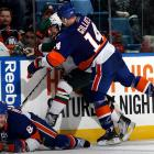 "In his first game back from a nine-game suspension for his role in a wild brawl with the Penguins on Feb. 11, the Islanders' roughneck used his forearm to drive the head of Minnesota's Cal Clutterbuck into the glass. Gillies was given a five-minute checking-from-behind penalty and ejected. He later received another 10-game ban, moving even commentator Mike Milbury, who had criticized the NHL for going to ""namby-pamby land"" by penalizing brutal hits, to say, ""This is a guy that crosses the line and doesn't know what's appropriate and what's inappropriate behavior in a hockey game."""
