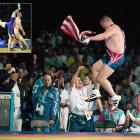 An elated Gardner cannot contain his excitement following his upset of Alexander Karelin in the 2000 Olympics.