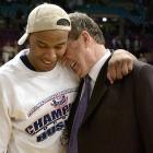 Big East Tournament MVP Caron Butler with Jim Calhoun after the Huskies won the tournament.