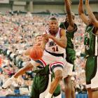 Before he became the NBA's all-time three-point shooting king, Ray Allen honed his stroke in Storrs. A two-time All-America, Allen averaged 19 points per game and led the Huskies to the 1995 Elite Eight. He also made a school-record 44.8 percent of his three-point attempts.