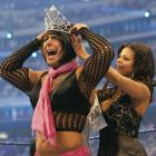 WrestleMania turned 25 in 2009 and 72,744 fans packed the Reliant Astrodome in Houston for the event. Though Triple H defeated Randy Orton in the main event, the night's most memorable match saw Santina Marella beat 24 divas to win the crown of Miss WrestleMania.