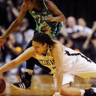 """Adams dives for a loose ball. The All-America shed 40 pounds last summer and took her game to the next level. """"I had a little voice in my head that said 'Don't let this team down,'"""" Adams said. """"I just took the game over."""""""
