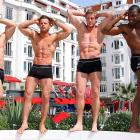 For the ladies out there who demand their weekly slabs of beefcake, we serve up Samy Thompson, Marc Burgum, Jamie Spencer and Vaughan Bailey at the majestic Hotel Majestic in Cannes, France.