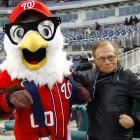 The longtime talk show host, who hung up his mic in December, huddled with his successor before Washington's finest met Atlanta's Braves in a lively game of rounders at Nationals Park on April 2.
