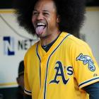 The A's outfielder appears to be shocked --  shocked!  -- by the sudden retirement of Manny Ramirez.