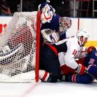 The Rangers and Capitals re-enacted  the famous stateroom scene (click here)  from the Marx Brothers classic  A Night at the Opera  during their shinny match at the World's Most Famous Arena on April 20.