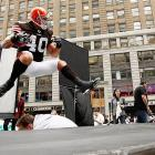 Players were jumpin' for joy in New York's famed Times Square at the news that the NFL lockout was over...at least for a few minutes.