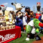 There wasn't a dry eye in Phiadelphia's Citizens Bank Park on April 17 as the city's favorite mascot was feted by a few friends on the occasion of his 121st birthday. (We assume he's as old as the Phillies.) According to at least one published report  CLICK HERE , the Phanatic beaned his own mother with a brutal brushback pitch during a celebratory Wiffle ball game. Mome Phoebe is resting comfortably in Philadelphia General Hospital.