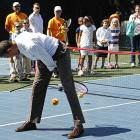 While the President was serving the annual Easter Egg Roll at the White House, potential GOP candidate Donald Trump reportedly cited this photograph as alarming evidence that not only was Mr. Obama a poor student during his college days, his tennis game isn't very good, either.