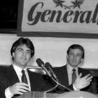QB Doug Flutie speaks at a news conference in 1985 after signing a multi-year contract with Trump's New Jersey Generals USFL franchise. Flutie started immediately and helped lead the team to an 11-7 record in his rookie season.