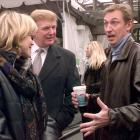"""Wayne Gretzky and his wife, Janet, talk to Trump in Central Park. Trump and The Great One both served on the judges' panel for a spoken essay contest called """"Most Gripping Moment of My Life."""""""