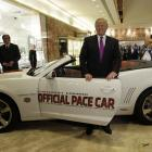 Trump with the 2011 Indianapolis 500 pace car after an announcement that he would be the pace car driver at the 100th Indy 500.