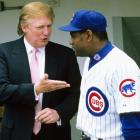 Trump chats with Sammy Sosa in the dugout before a July 2000 game between the Cubs and White Sox. Sosa hit two home runs in the three-game crosstown series.