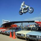 Knievel, seen here jumping over an expanse of cars in 1971, broke a Guinness record 433 bones in his lifetime.
