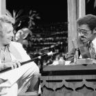 Knievel is interviewed by guest host Sammy Davis Jr. on the Tonight Show in 1979.