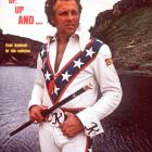 The daredevil poses at the Grand Canyon on the cover of a 1974 Sports Illustrated. Knievel never got approval to jump the canyon -- one of his dreams -- but his son Robbie jumped over part of the canyon in 1999.