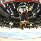 Minnesota Duluth Bulldogs goalie Kenny Reiter celebrates a 4-3 victory over Notre Dame in the semifinals of the Frozen Four.  If only he knew the Bulldogs would win it all ...