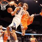 Phoenix Suns center Robin Lopez (right) uses his length to defend a shot attempt from Minnesota Timberwolves forward Anthony Randolph during the Suns' 108-98 victory over the T'wolves.