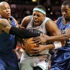 Who looks like they want it more?  A pair of casual Wizards guards -- Maurice Evans (left) and Jordan Crawford -- battle Paul Pierce for a ball during the Celtics' 104-88 victory over the Wizards.