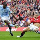 Manchester City midfielder Yaya Toure (left) scores the game-winning goal during Manchester City's 1-0 FA Cup semifinals match victory over Manchester United on April 16.