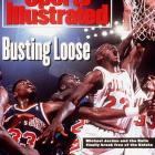 Jordan scored 18 first-quarter points, had 29 by halftime and finished with 42 to lead the defending champion Bulls past New York 110-81 in Game 7 of a second-round series. This marked the only time Jordan and Co. were pushed to a Game 7 during their first three-peat.