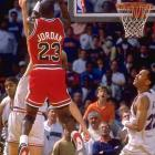 """With the Bulls trailing by a point with three seconds left in the final game of a hard-fought first-round series, Jordan took an inbounds pass from Brad Sellers, spun to the top of the key and hit a hanging, double-clutch, 18-foot jumper over Craig Ehlo at the buzzer, stunning the 20,273 in attendance at Richfield Coliseum. """"The Shot"""" capped his 44-point, nine-rebound, six-assist performance as Chicago upset the second-seeded Cavaliers."""