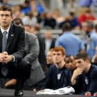 Butler head coach Brad Stevens stares into the distance as he watches his Bulldogs lose in the NCAA title game for the second consecutive year.