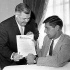 The Alabama QB takes a look at his contract, held by Jets coach Weeb Ewbank. Broadway Joe received a record three-year, $427,000 deal. The Hall of Famer led the NFL in passing three times and led New York to an upset of 18-point favorite Baltimore in Super Bowl III.