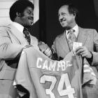 The No. 1 overall pick holds up his Oilers jersey with NFL commissioner Pete Rozelle. The Hall of Famer led the NFL in rushing yards during his first three seasons, but the hard-running tailback only lasted eight years in the league.
