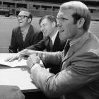 The No. 1 overall pick signs his contract with the Steelers inside of soon-to-be-finished Three Rivers Stadium, along with his father, William (far left), and Pittsburgh vice president Dan Rooney. The Hall of Fame QB led the Steelers to four Super Bowl titles and earned the 1978 NFL MVP after leading the league with 28 touchdown passes.