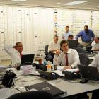 In the Atlanta Falcons War Room, president Rich McKay, owner Arthur Blank, GM Thomas Dimitroff and head coach Mike Smith look over their notes before selecting QB Matt Ryan with the third overall selection.