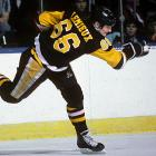 Super Mario set an NHL record during the 1988-89 season by producing 57 percent of his team's goals and reached 300 in the regular season finale, a 6-5 overtime victory over interstate rival Philadelphia. Lemieux ranks ninth on the NHL's all-time scoring list with 690 goals.