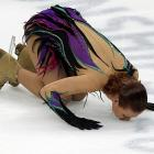 Nice to see Alena Leonova of Russia enjoying some face time with the ice after her performance in the women's free skate event in Moscow. Unfortunately, we hear, her lips got stuck and emergency technicians are still trying to free her.