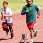 Rumor has it that the vaunted boxer is already in training for his next career: racing against pugs.