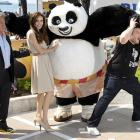 The master thespians were knocked on their Cannes by Po The Panda in a spirited display of (very) mixed martial arts at the famed French film festival before the unspooling of the major motion picture  Kung Fu Panda 2 .